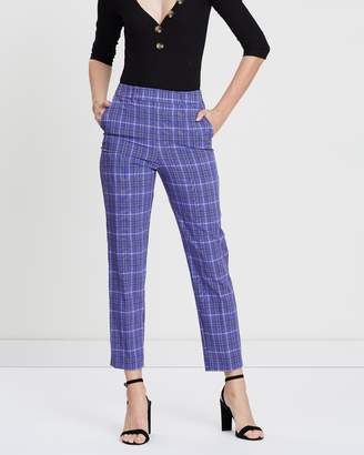 Miss Selfridge Check Print High-Waisted Cigarette Trousers