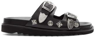 Toga Virilis Black Leather Charm Sandals