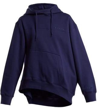 Martine Rose Asymmetric Hem Cotton Hooded Sweatshirt - Womens - Navy
