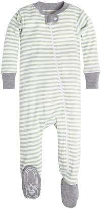 Burt's Bees Baby Baby Boys' Infant Organic Stripe Zip Front Non-Slip Footed Sleeper Pajamas