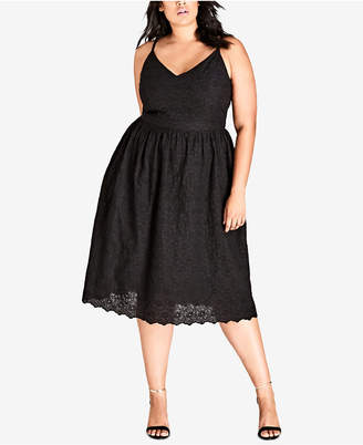 City Chic Trendy Plus Size Cotton Embroidered Fit & Flare Dress