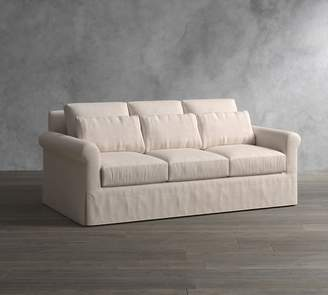 Pottery Barn York Roll Arm Deep Seat Slipcovered Sofa