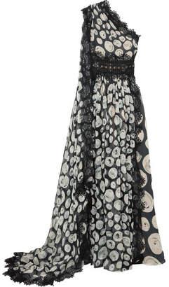 Naeem Khan One-shoulder Lace-trimmed Printed Silk-chiffon Gown - Black