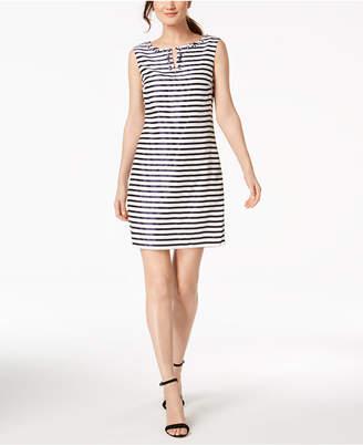 Ellen Tracy Petite Embellished Striped Sheath Dress