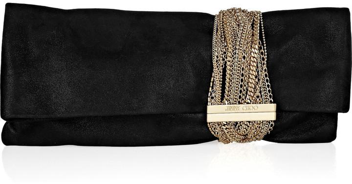 Jimmy Choo Chandra chain-embellished glittered suede clutch