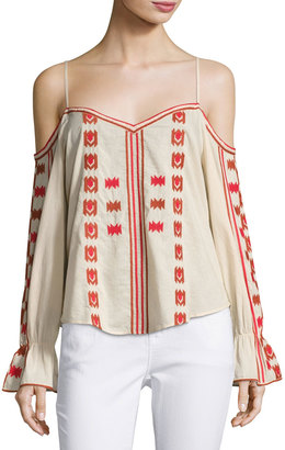 Love Sam Embroidered Cold-Shoulder Blouse, Pink/Red $119 thestylecure.com