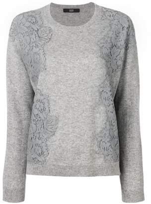 Steffen Schraut floral lace detail knitted sweatshirt