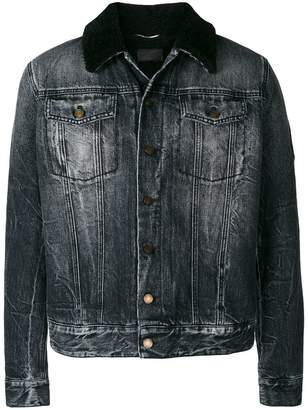 Saint Laurent sheepskin collar denim jacket