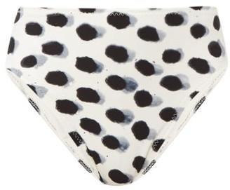 Norma Kamali Paint Dots High Rise Bikini Briefs - Womens - White Black