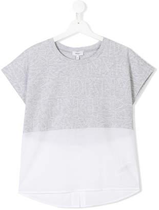DKNY TEEN sheer hem branded T-shirt