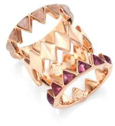Tory Burch Puzzle Amethyst& Rose Quartz Rings