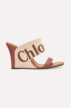 Chloé Verena Logo-print Canvas And Leather Wedge Sandals - Brown