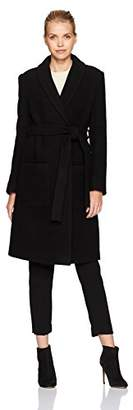 Halston Women's Long Sleeve Boiled Wool Maxi Coat