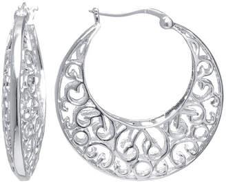 SILVER REFLECTIONS Silver Reflections Silver-Plated Filigree Caged Earrings