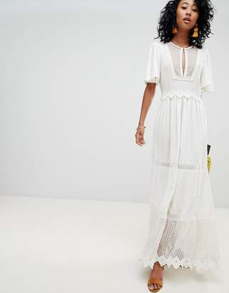 Cleobella Boho Lace And Mesh Maxi Dress