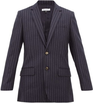 Bella Freud Allen Chalk Striped Single Breasted Wool Blazer - Womens - Navy Stripe