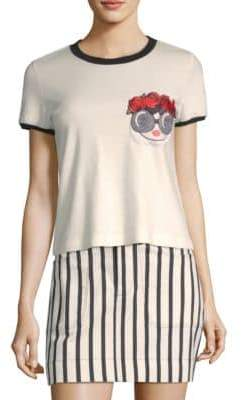 Alice + Olivia Rylyn Embroidered Tee