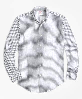 Brooks Brothers Madison Fit Windowpane Irish Linen Sport Shirt