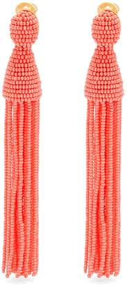 OSCAR DE LA RENTA Bead-embellished tassel-drop clip-on earrings $395 thestylecure.com