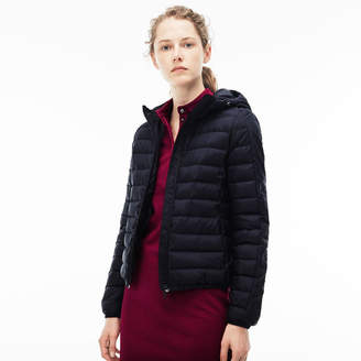 Lacoste Women's Hooded Quilted Taffeta Down Jacket