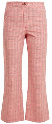 Stella Jean Checked Cotton Blend Flared Trousers - Womens - Red