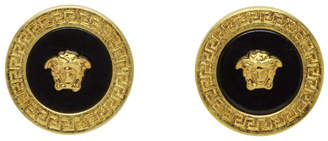 Versace Gold and Black Resin Medusa Stud Earrings