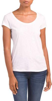Scoop Neck Slub Pima Cotton T-shirt