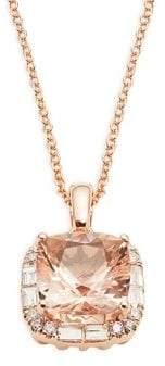 Effy Diamond Quartz 14K Rose Gold Pendant Necklace