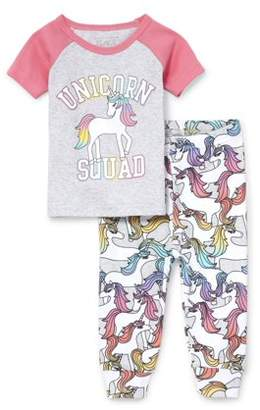 Children's Place The Baby And Toddler Girls Short Raglan Sleeve 'Unicorn Squad' Top And Printed Pants Snug-Fit PJ Set (Baby and Toddler Girls)