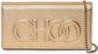 Jimmy Choo Santini Embossed Logo Leather Clutch