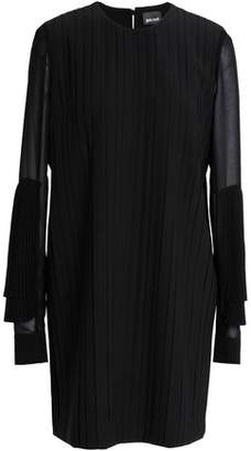 Just Cavalli Pleated Paneled Crepe Mini Dress