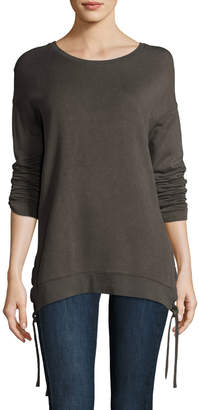 Neiman Marcus Majestic Paris For Lace-Up Side Sweatshirt
