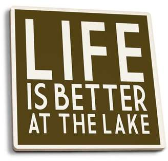 Life Is Better At The Lake - Simply Said - Lantern Press Artwork (Set of 4 Ceramic Coasters - Cork-backed, Absorbent)