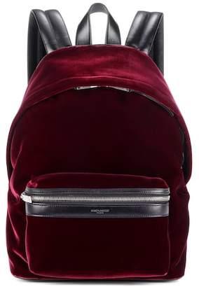 Saint Laurent Velvet and leather backpack