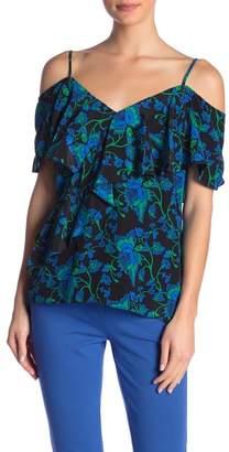 Diane von Furstenberg Silk Patterned Ruffle Front Blouse