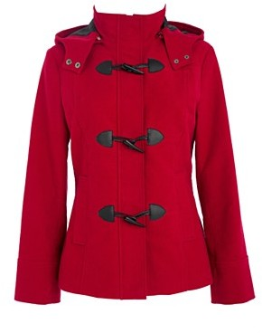 Red hooded moleskin duffle coat