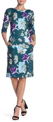 AERIN Floral Printed Welt Pocket Dress