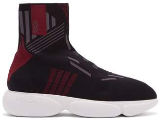 Prada Cloudbust High Top Knit Trainers - Womens - Black Burgundy