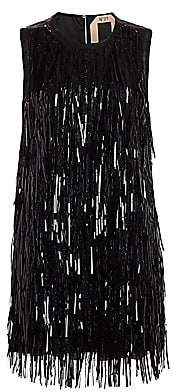 No.21 No. 21 Women's Sequin Fringe Sleeveless Shift Dress