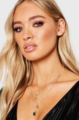 boohoo Coin + Diamante Layered Necklace