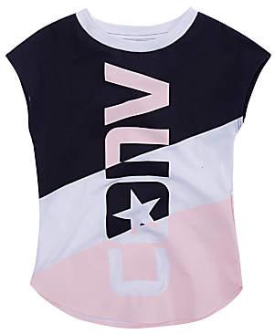 Converse Girls' Oversized Wordmark T-Shirt, Pink