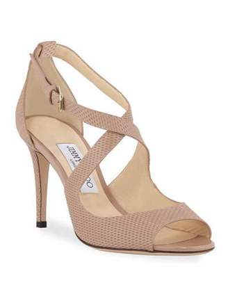 Jimmy Choo Emily Net-Embossed Patent Sandals