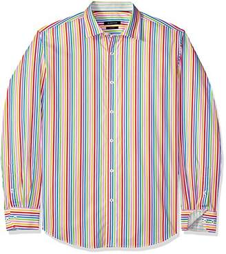 Bugatchi Men's Tailored Fit Stripe Long Sleeve Point Collar Shirt