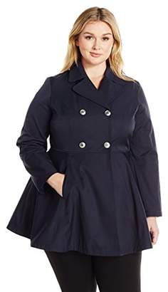 Lark & Ro Women's Plus Size Fit and Flare Trench Coat