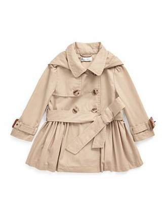 Ralph Lauren Childrenswear Girl's Hooded Trench Coat, Size 12-24 Months
