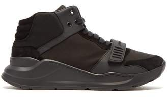 Burberry High Top Suede And Neoprene Trainers - Mens - Black