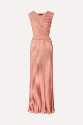 Missoni Mare Pleated Lurex Maxi Dress - Antique rose