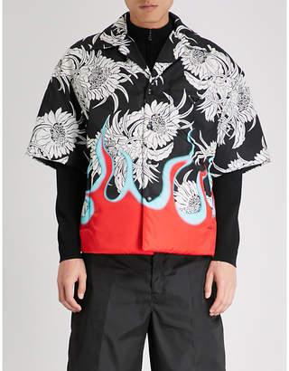 Prada Floral flame-print padded nylon shirt