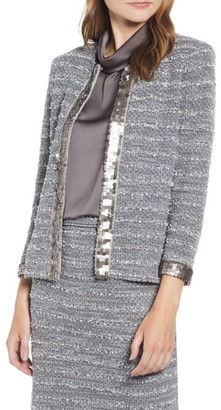 Ming Wang Sequin Trim Boucle Tweed Jacket