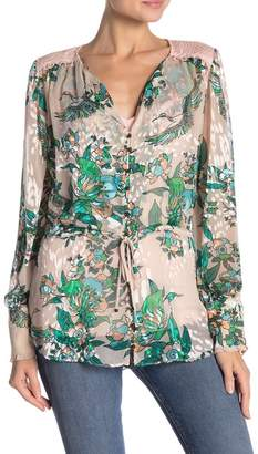 Hale Bob Silk Blend Long Sleeve Patterned Blouse